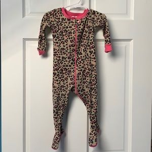 Girls 12-18 month footed leopard pajama